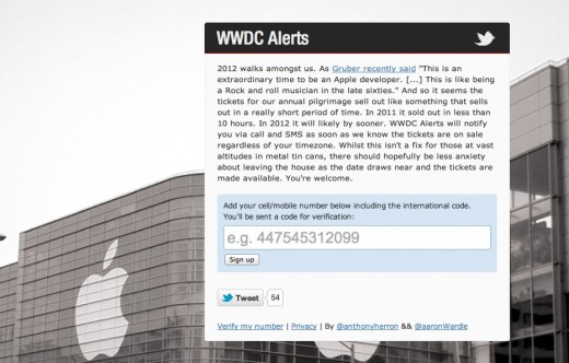 Screen Shot 2012 01 03 at 1.43.28 PM 520x332 WWDC Alerts ensures that you know the minute Apple puts 2012 tickets on sale