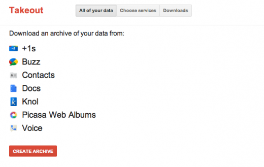 Takeout all your data 520x329 Google updates export tool Takeout to support Google Docs