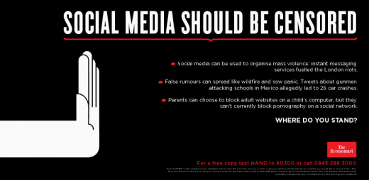 Ban2 520x254 The Economist kick starts social media censorship debate in London Underground