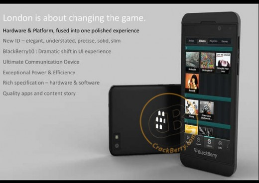 BlackBerry 10 Smartphone 520x368 New Leaked image of the BlackBerry 10 London Superphone reportedly surfaces