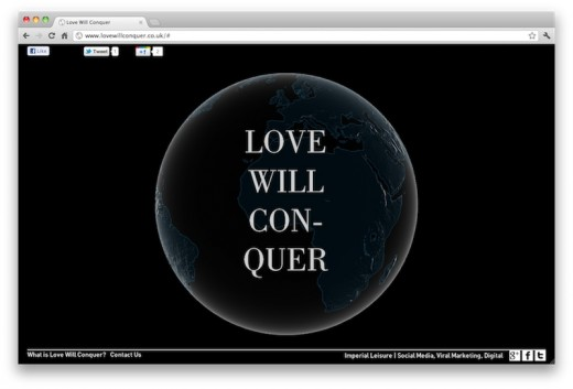 Love Will Conquer 520x353 This neat tool collects tweets that mention love or hate and maps them onto a 3D Earth
