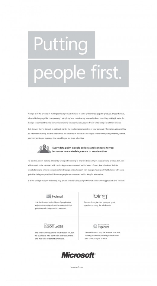 MicrosoftAdvert 520x948 Microsoft launches a newspaper ad campaign slamming Googles new privacy policy