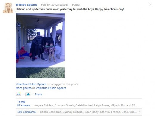 britney valentines 520x390 Oops I did it again: Britney Spears claims another Google+ first, hits 2 million followers