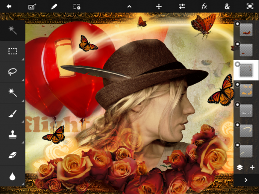ios pstouch screenshot 091 520x390 Adobe drops Photoshop Touch for iPad 2, with layers, lighting and more for $9.99