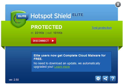Graphical Interface Elite Hotspot Shield sees major update: Automatic network detection, no need for administrator privileges and more