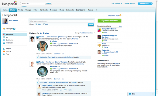 Rypple Thanks in Chatter 520x316 Salesforce announces brand new social initiatives, inside and out