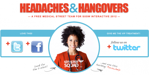 Screen Shot 2012 03 06 at 12.59.25 PM 520x263 Headaches & Hangovers: a brilliant marketing idea for SXSW that does good