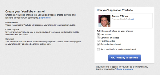 Screen Shot 2012 03 13 at 5.49.51 PM 520x245 You can now sign up for a YouTube account using your Google+ profile