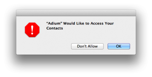 Screen Shot 2012 03 16 at 6.26.44 PM 520x264 OS X Mountain Lion DP 2 now asks permission before allowing apps to access your contacts