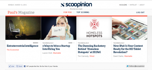 Screenshot 24 520x241 Scoopinion: A crowdcurated magazine for your browser that learns what you like [Invites]