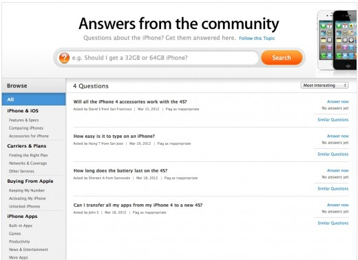 answers 520x377 Apple launches Answers from the community support listings on product pages