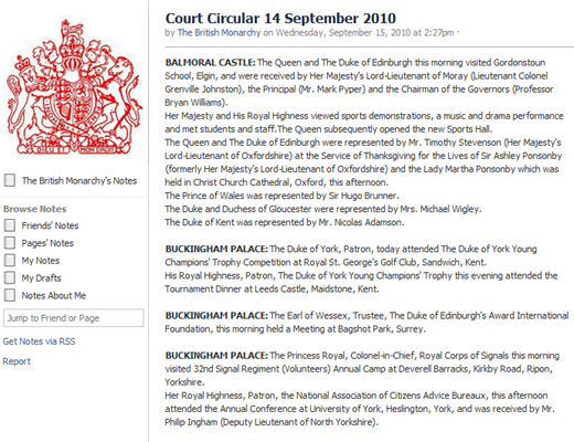 court circular The British Monarchy on Facebook; Ones timeline goes back to 1952
