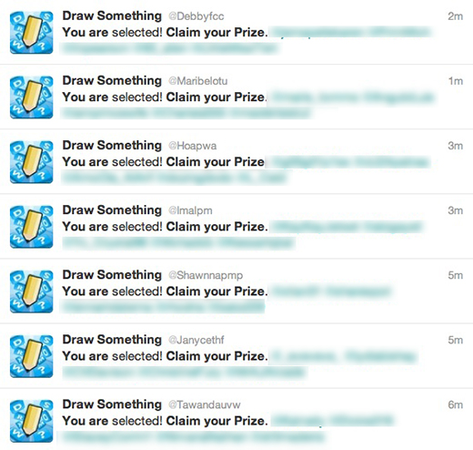 draw something spam 2 Capitalizing on Draw Somethings popularity, spammers begin targeting Twitter users