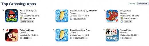 iTunes 4 1 520x162 Angry Birds Space unseats Draw Something as top grossing app on the App Store