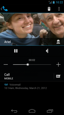 voiceshot2 220x391 Google Voice now integrates directly with Ice Cream Sandwichs visual voicemail
