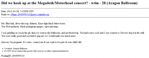 Motorhead2 520x205 Woman gets knocked up at a Motörhead gig and seeks the father with classy Craigslist ad