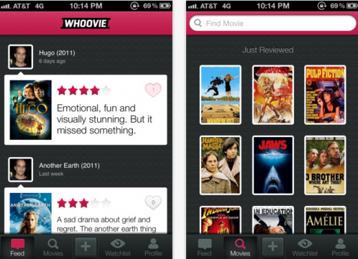 Screen Shot 2012 04 05 at 1.15.38 PM 520x376 Whoovie: A refreshingly simple app for sharing short & sweet movie reviews