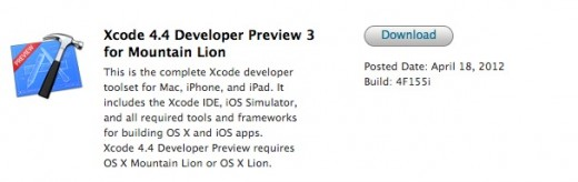 Screen Shot 2012 04 18 at 1.07.50 PM2 520x164 Apple releases  OS X 10.8 Mountain Lion Developer Preview 3 and new Xcode 4.4 build