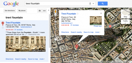 Trevi Fountain 520x250 Google Maps now lets you visit famous landmarks with photo tours...using YOUR images