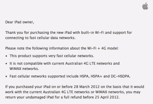 australia letter 520x354 Apple begins offering new iPad owners in Australia refunds after LTE confusion