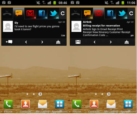 b BlingBoard brings Gmail, Facebook, Twitter and SMS together in one Android widget