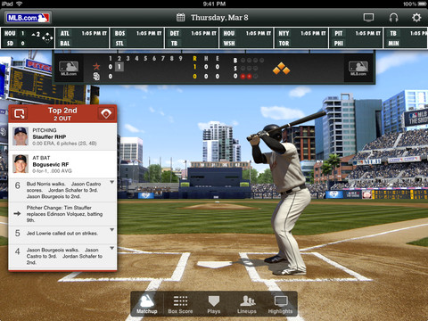 MLB At Bat 2012 for iOS updated with regular season access and Retina graphics for iPad