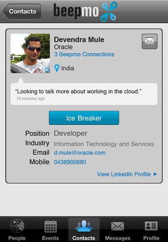 profile.320x480 Mobile app Beepmo makes networking on LinkedIn as simple as Foursquare check ins