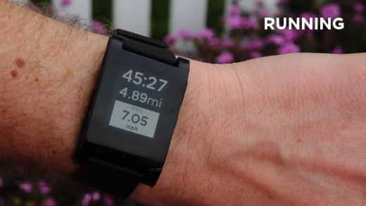 running1 520x292 After just 28 hours Pebble smartwatch becomes 5th $1M project on Kickstarter, proving appeal of Dick Tracy