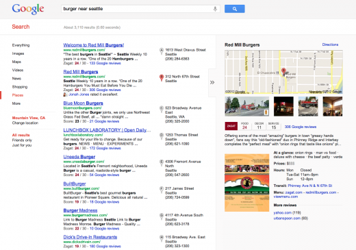 11 newdesignedlocalsearchexperience 520x365 Google overhauls its local search experience with Google+ Local, featuring Zagat scores