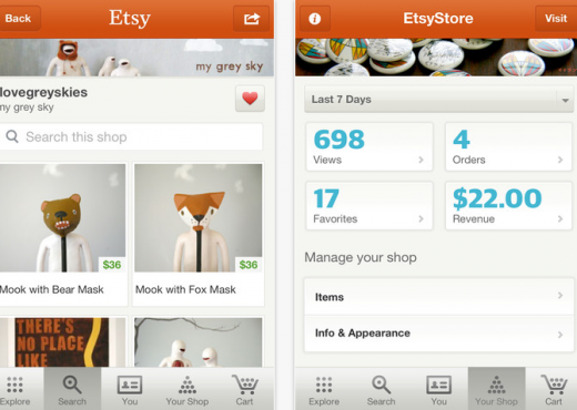 Screen Shot 2012 05 31 at 11.50.11 AM 520x370 Etsy updates its iOS app with a new Activity Feed, Explore experience and Shop Stats dashboard