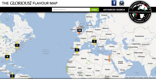a 520x264 Flavour Map: A crowdsourced interactive map of tastes from around the world