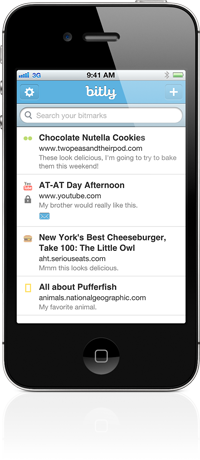 iphone list Bitly launches social discovery features, a complete redesign, iPhone app & new Chrome Bookmarklet