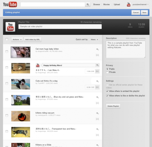 playlist editing view 520x503 YouTube plalylists now let you share specific clips inside of videos