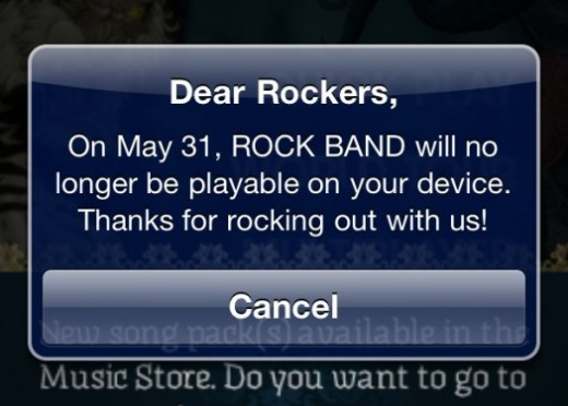 rockbandpopup 525x376 520x372 Original Rock Band iOS app will be shut down on May 31st, although its still for sale [UPDATED]