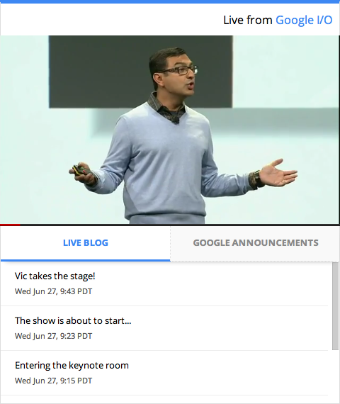 io live gadget Google introduces new I/O live blogging tool
