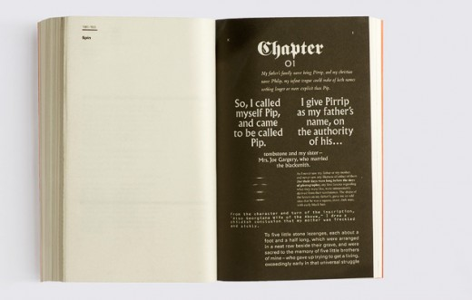 page1 real 18 630 402 520x331 70 graphic designers recreate the first page of Great Expectations, by Charles Dickens