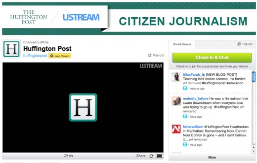 ustream huffpo 520x331 The Huffington Post partners with Ustream to beef up its live news coverage