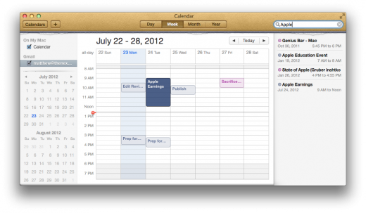 Calendar Search Sidebar 520x303 TNW Review: OS X 10.8 Mountain Lion