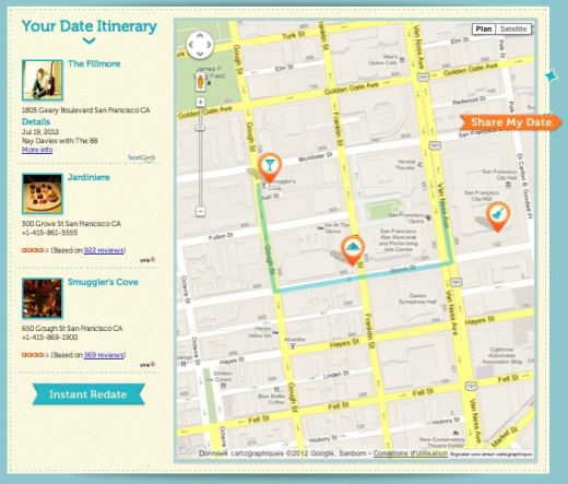 Dateini itinerary 520x443 Going on a date tonight? Dateini wants to help you plan it like Houdini