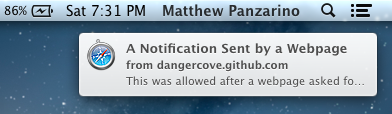 Notification from a website TNW Review: OS X 10.8 Mountain Lion