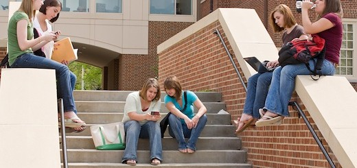Group of college Girls on Campus Studying