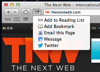 Safari share out TNW Review: OS X 10.8 Mountain Lion