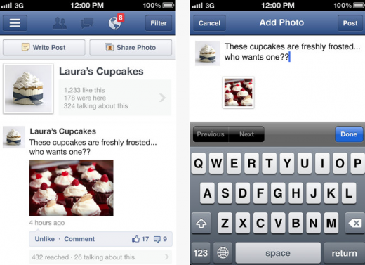 Screen Shot 2012 07 18 at 5.47.18 PM 520x377 Facebook Pages Manager for iOS gets an update with photo uploads, new language support