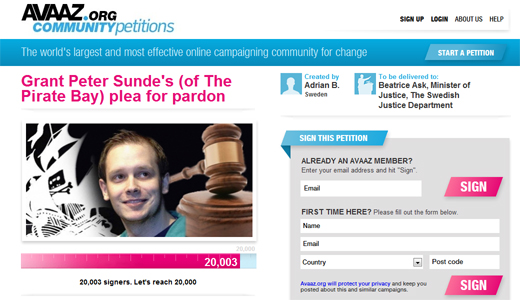 avaaz520 Clemency petition for The Pirate Bay Co Founder Peter Sunde passes 20k signatures
