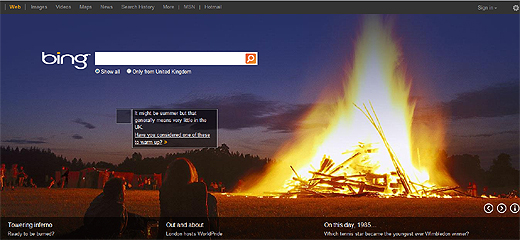 bing520 Bing rolls out cleaner home page and improves page load times for UK users
