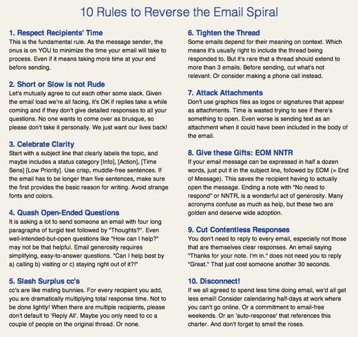 email charter The geeks guide to dealing with email overload