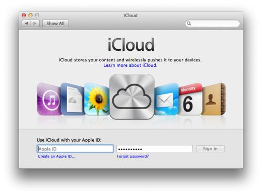 iCloud login pane 520x388 TNW Review: OS X 10.8 Mountain Lion