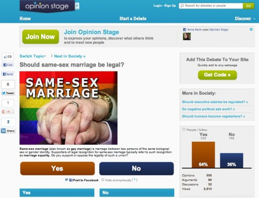 opinion stage same sex marriage 520x398 Opinion Stages widget lets you add debates to your site