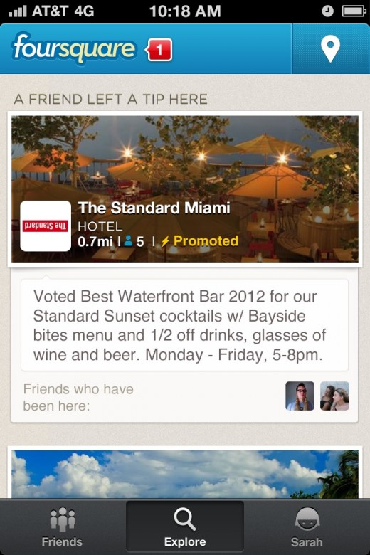 promoted updates 520x780 Foursquare introduces Ad words style Promoted Updates, as Explore feature usage doubles