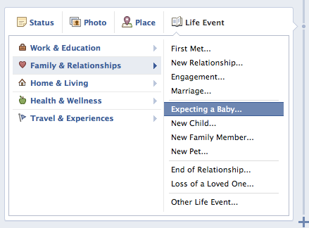 DisplayMedia 2 Facebook announces a new Life Event for those who are expecting a new addition to their family